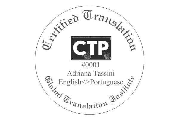 Official Certified Translator Professional Certificate Stamp